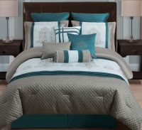 Dark Teal Comforter Sets | 10 Piece Queen Avalon Taupe ...