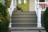 painted exterior stairs, gray steps with white railing and