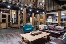 Rustic Living Room with Garage Door