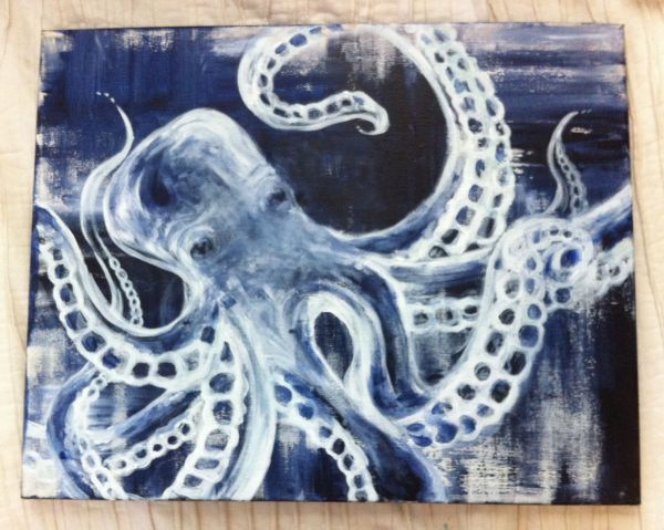 Wise White Octopus - Acrylic Painting Underwater