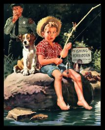 Norman Rockwell Boy Fishing Print