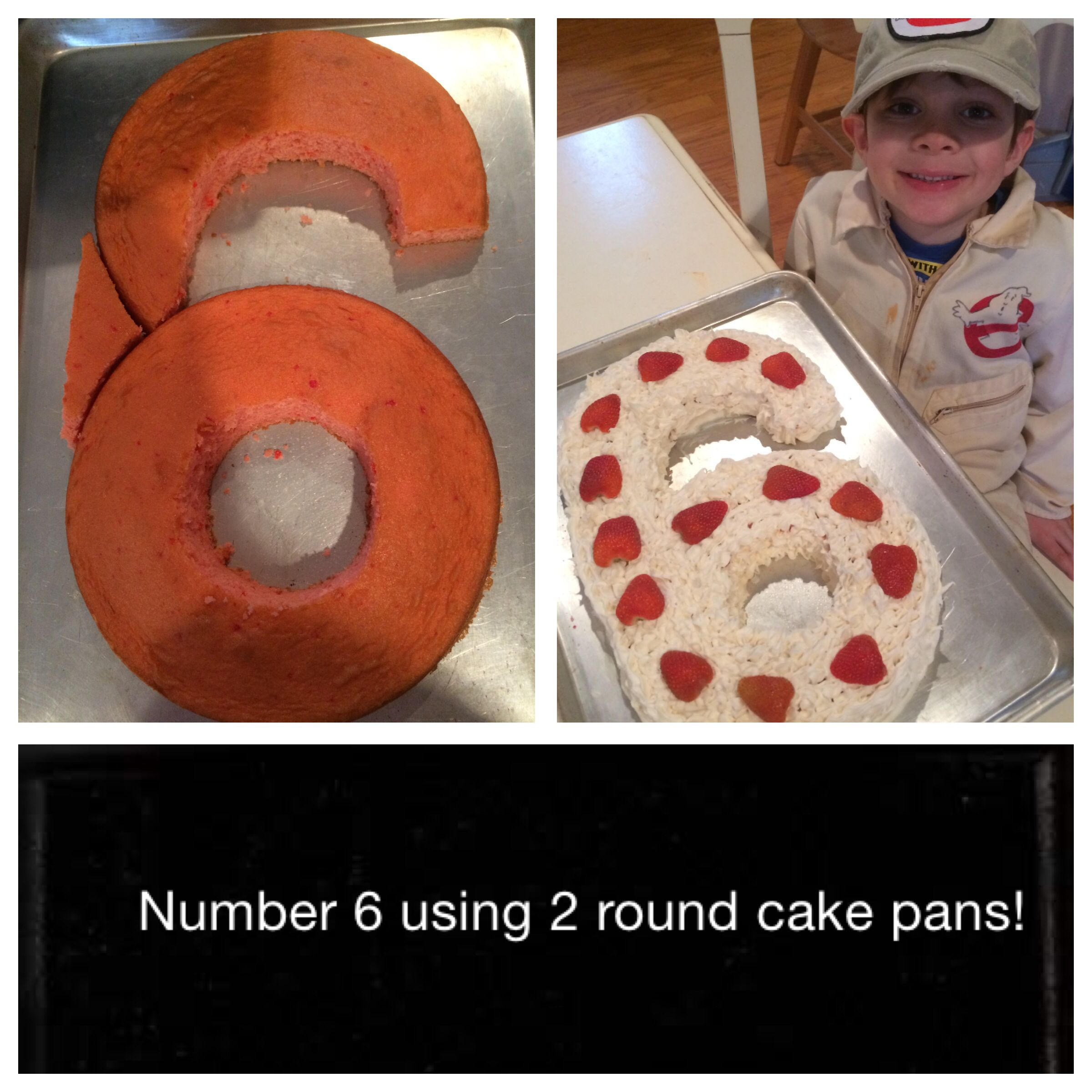 Number 6 Birthday Cake Using 2 Round Cake Pans