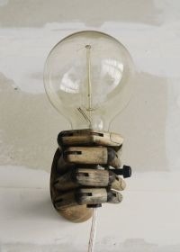 Pinocchio - Wood Mannequin Hand Wall Lamp - Wall Sconce ...