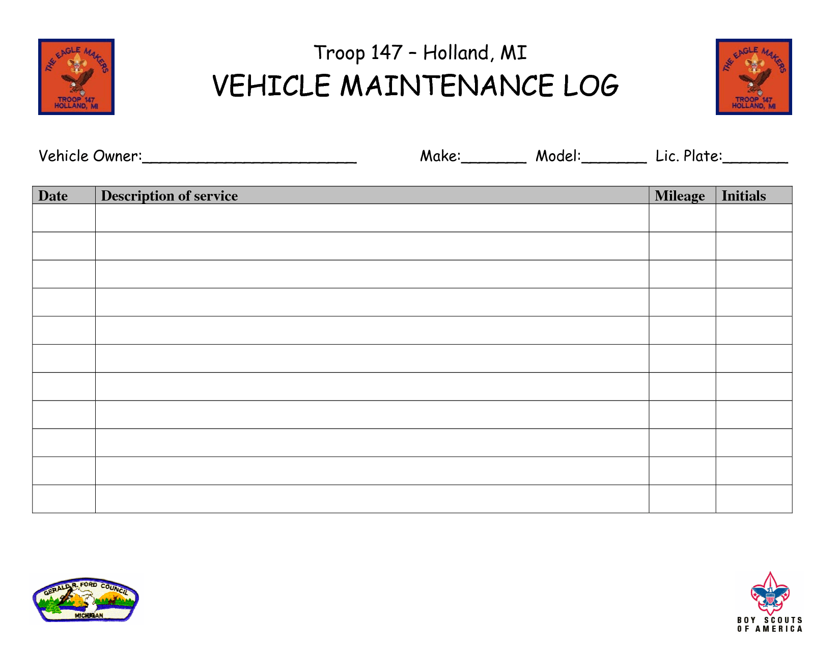 Vehicle Maintenance Log Book Template Lonewolf Software Automotivewolf