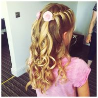 Flower girl twin French plaits on either side with curls ...