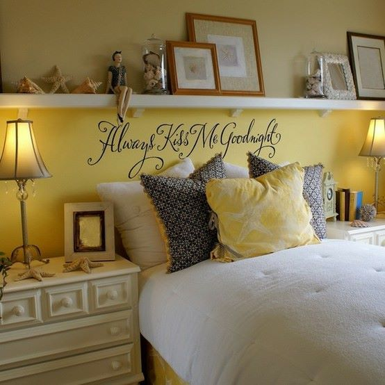 Long shelf over the bed in place of headboard  always kiss me goodnight above also pin by lisa prescott on room ideas pinterest calligraphy rh