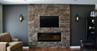 fireplace walls with seating   This client had the ...