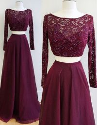 Burgundy Prom Dresses,Two Pieces Prom Dresses,Long Sleeve ...