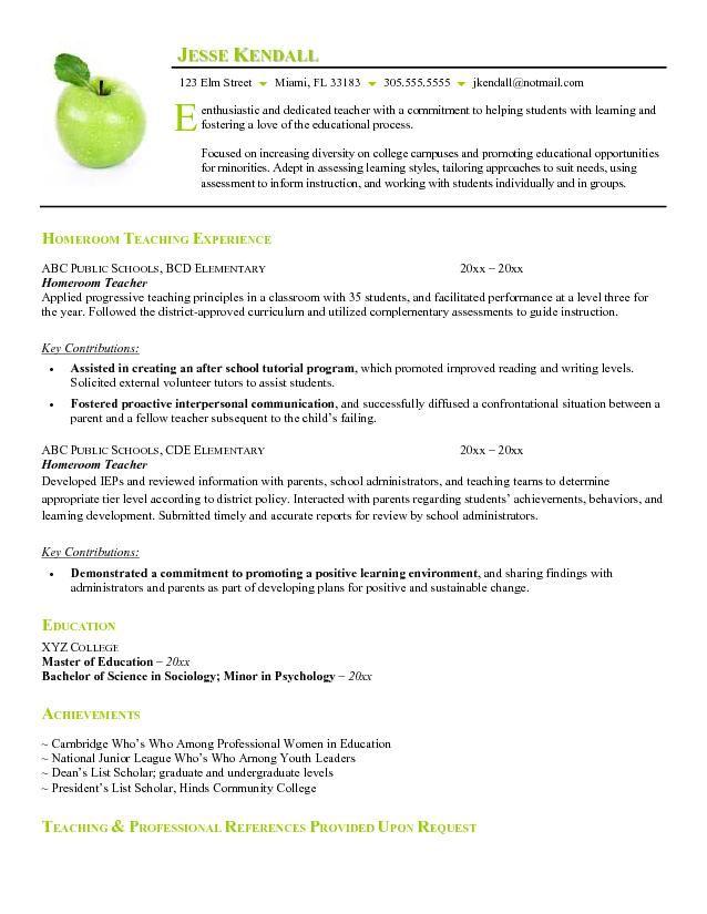 preschool teacher resume examples - Resumes For Teachers Examples