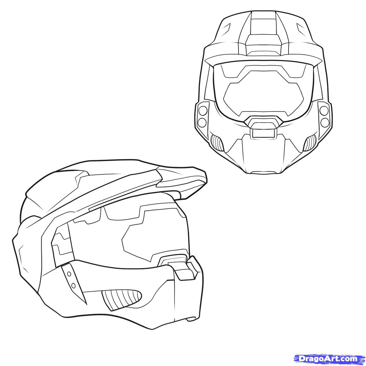 How To Draw A Halo Helmet Step By Step Video Game