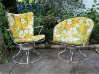 MID CENTURY MODERN HOMECREST PATIO CHAIRS SET WIRE SWIVEL