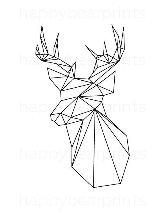 Geometric Deer Black Deer Geometric Animal by