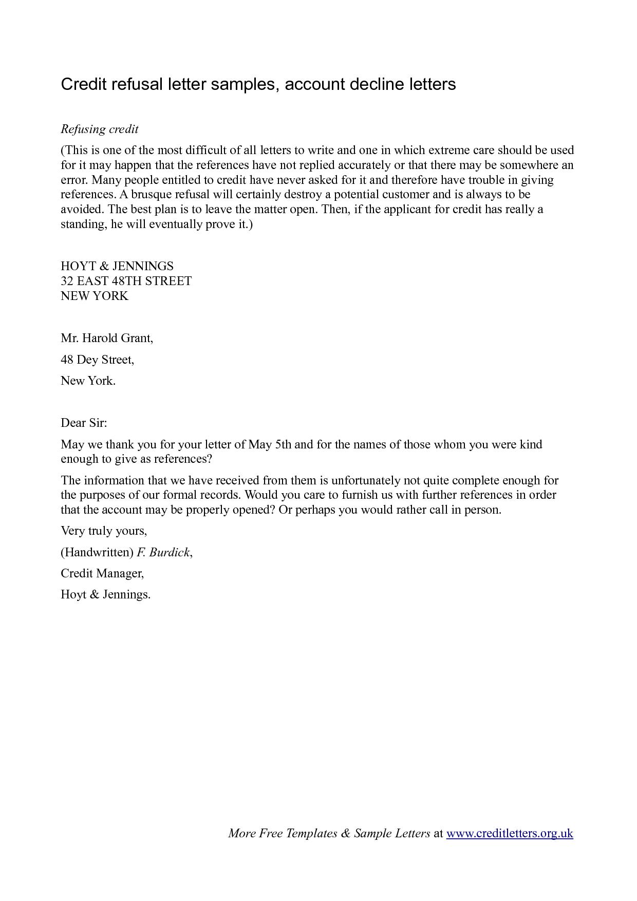 Credit Decline Letter