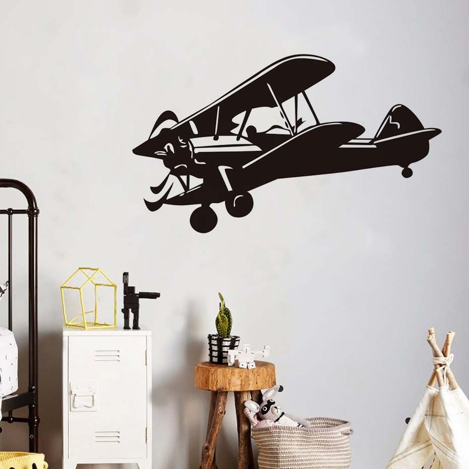 Military aviation airplane wall stickers for kid rooms removable vinyl decals cartoon aircraft decor also rh pinterest