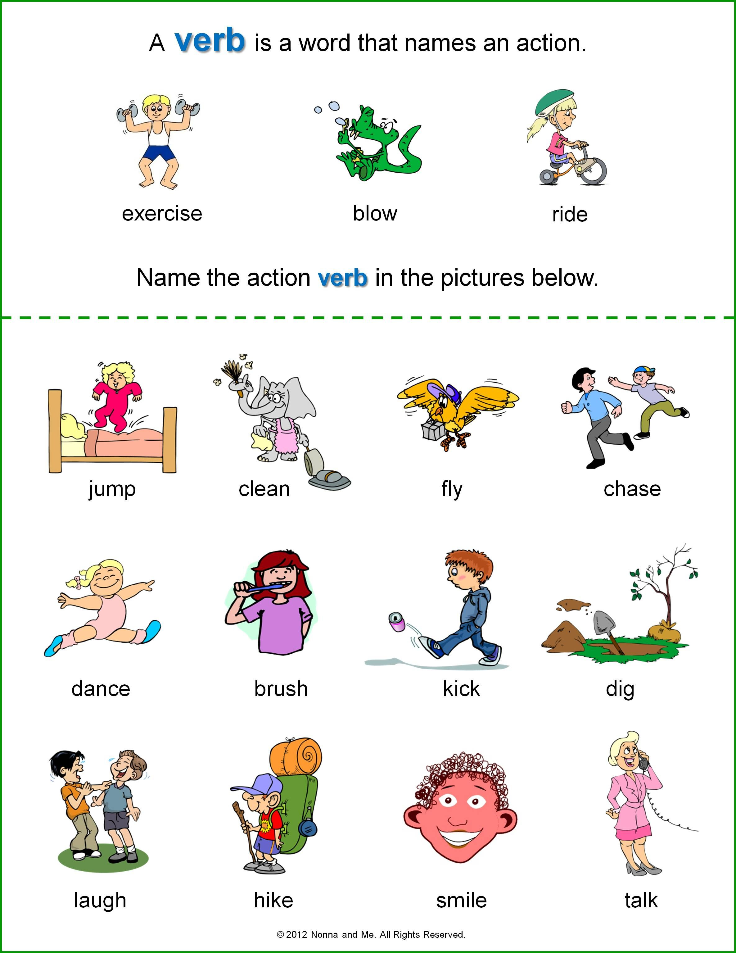 Verbs Worksheet For Kindergarten