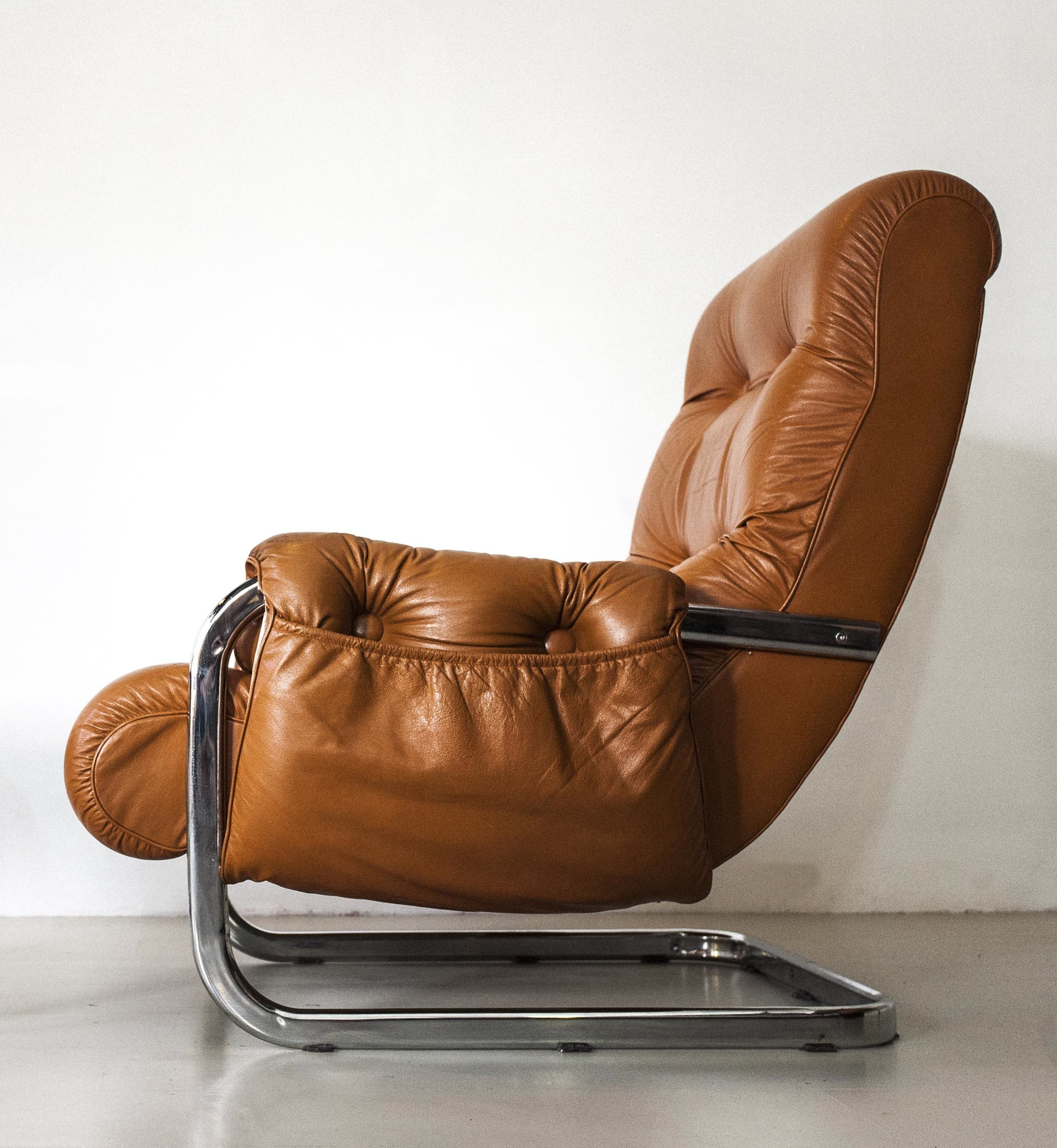 Metal And Leather Chair Anonymous Chromed Metal And Leather Lounge Chair C1970