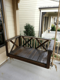 Custom Wood | Dark Rustic Porch Swing Bed | Furniture by ...