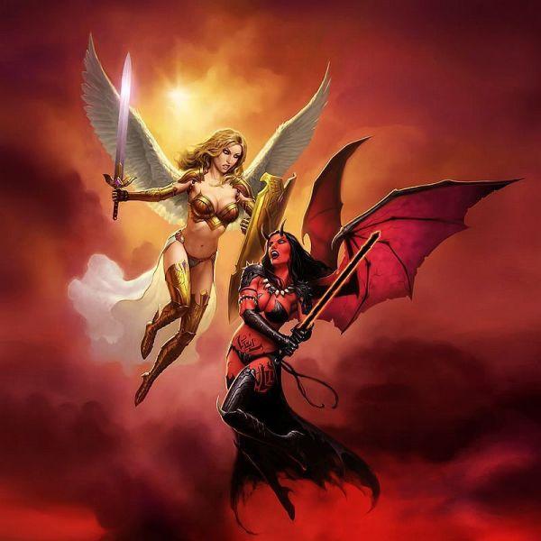 Hd Prints Original Oil Paintings Canvas Angel Demon