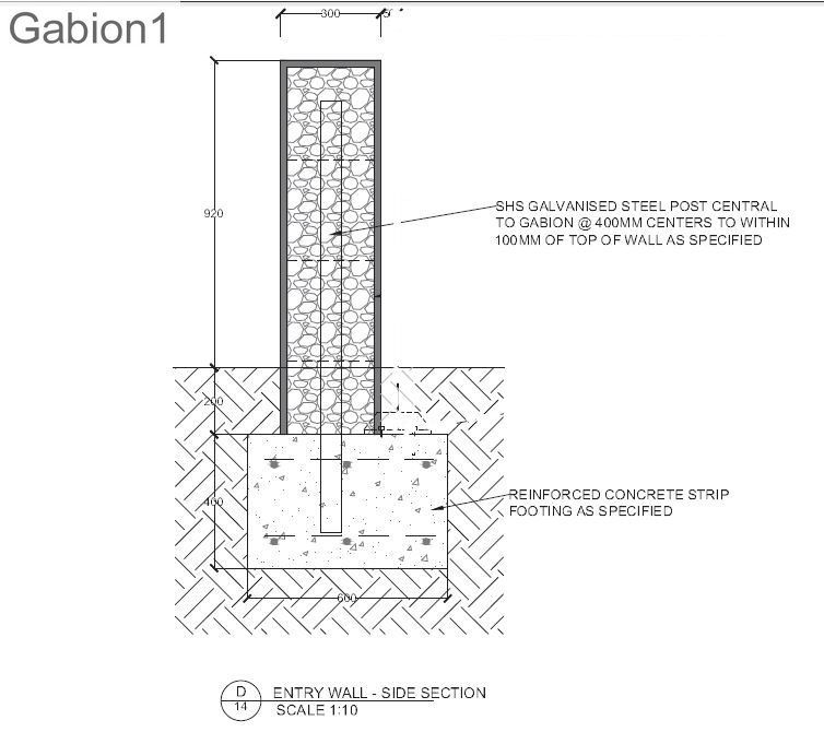Example of a tall gabion wall with galv support posts for