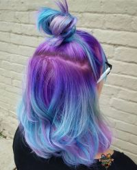 Purple blue ombr hair ( Instagram photo by @hairbykaseyoh ...
