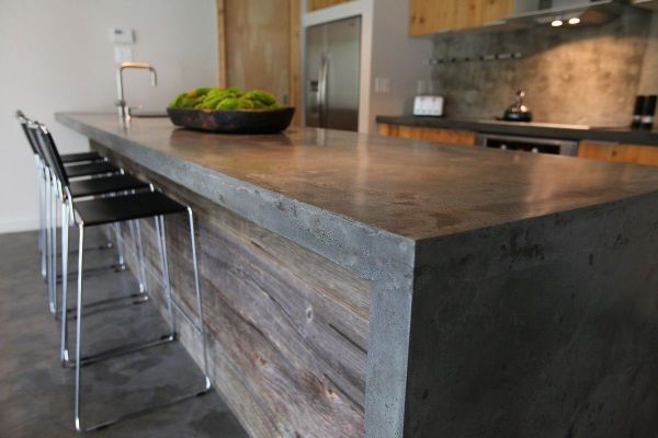 concrete kitchen countertops island Concrete Island with barnwood. i have no idea how i can