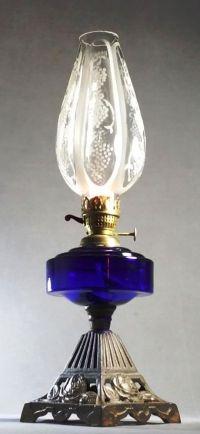 Victorian Bristol Blue Glass Font Youngs Burner Kerosene ...