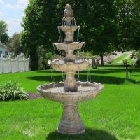4 Tier Outdoor Waterfall Fountain Electric Pump Yard ...