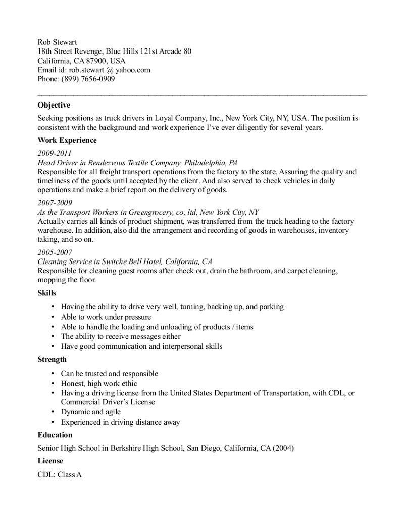Cdl Truck Driver Resume Template Resume Template Pinterest