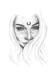 moon girl drawing