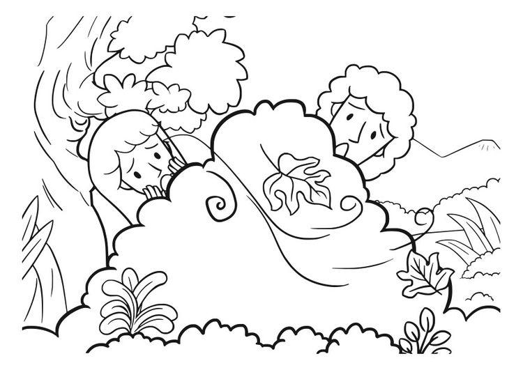 Coloriage Adam et Eve Educación Pinterest