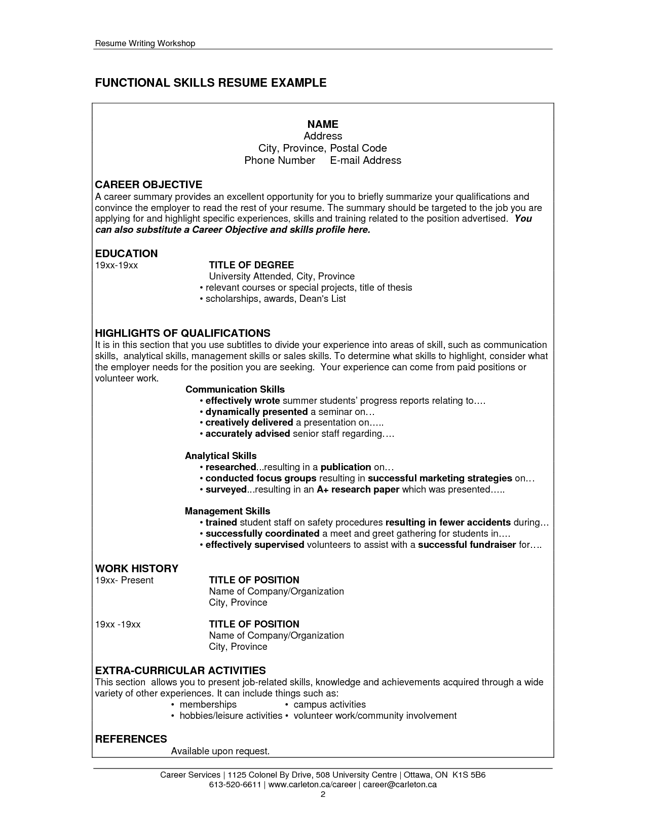 Examples Of Skills On A Resume Job Resume Communication Skills Http Resumecareer