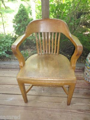 Vintage bl marble chair oak bankers chair original with