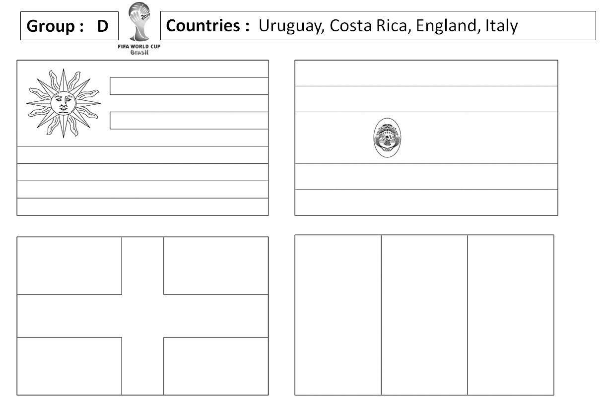 Blank Outlines Of The Flags For Each Of The Countries In The World Cup Ideal For Displays