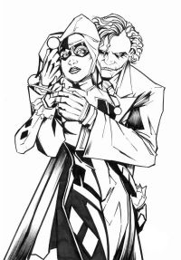Joker and His Lover Harley Quinn Coloring Page