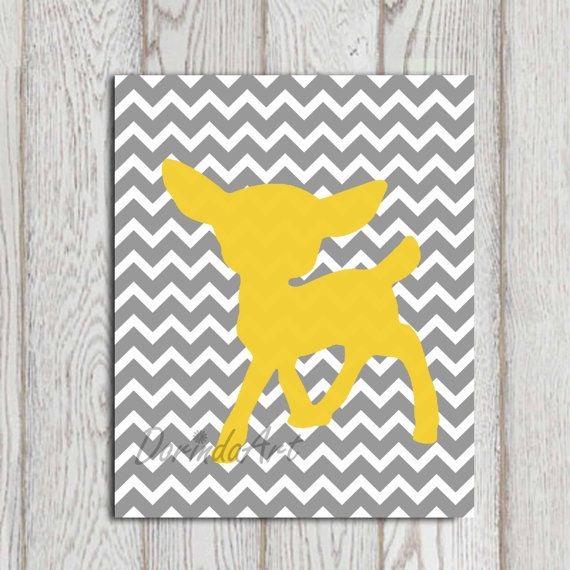 Fawn printable yellow gray nursery wall decor by dorindaart also rh pinterest