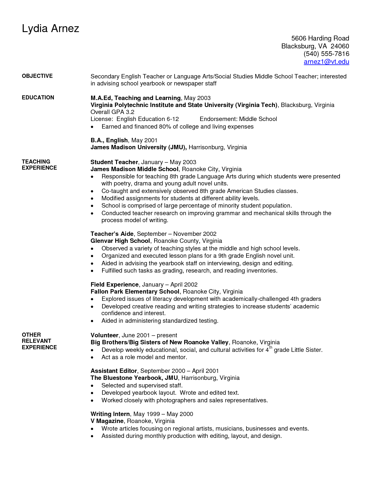 Student Teaching Resume Samples Art Teacher Resume Examples Sample Secondary Teacher