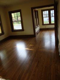 dark wood trim with hardwood floors and lighter, not ...