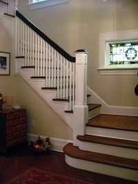 Same layout as our new staircase - 2 steps, landing and ...