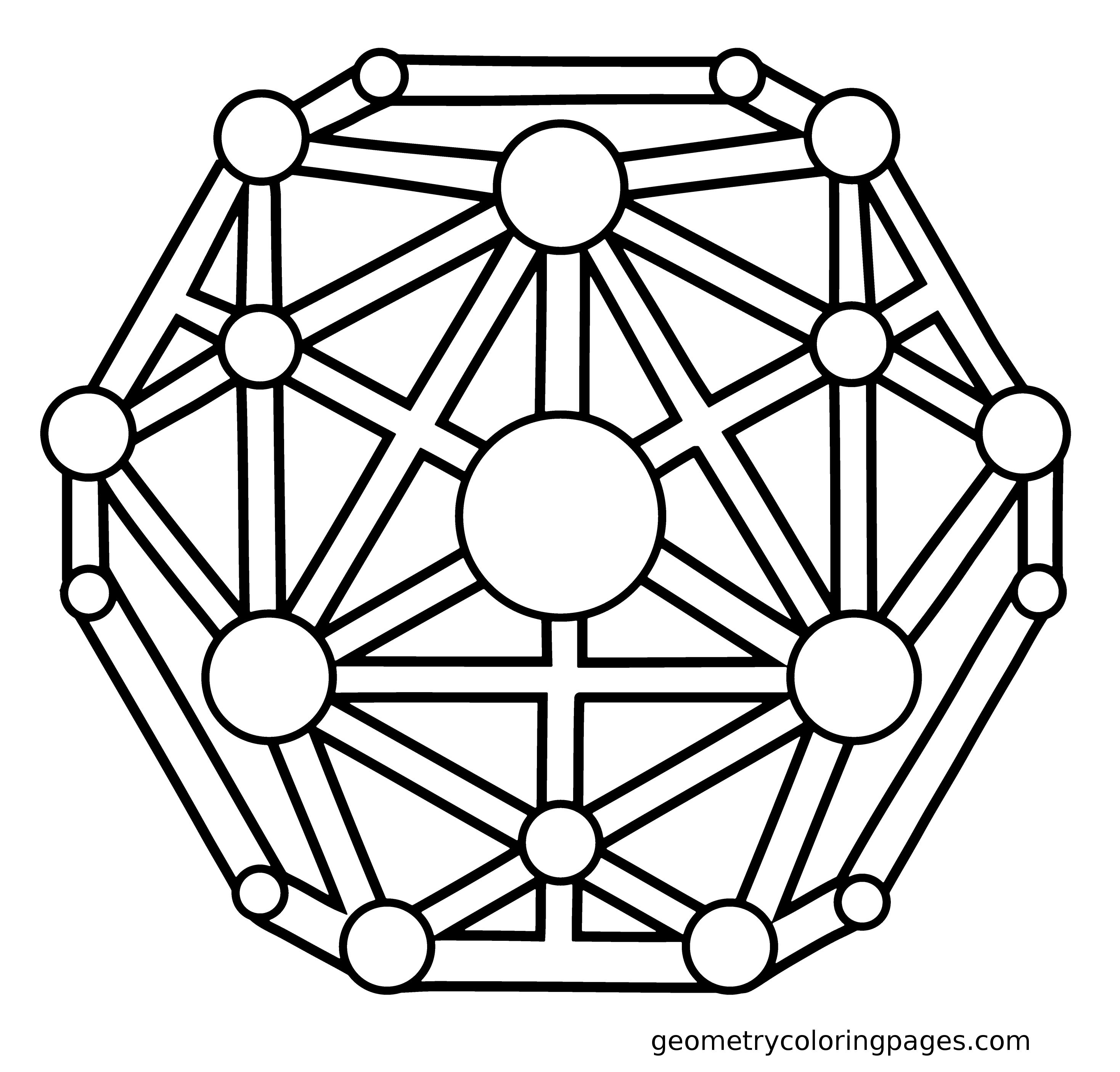 Sacred Geometry Coloring Page, Dodecahedron from