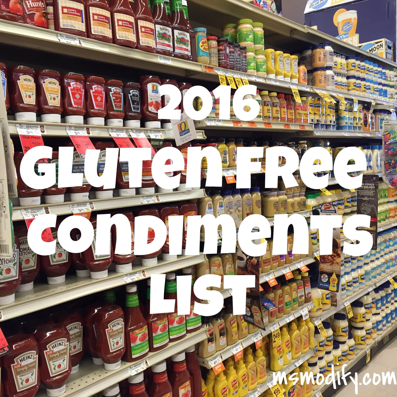 2016 Gluten Free Condiments List | Gluten free