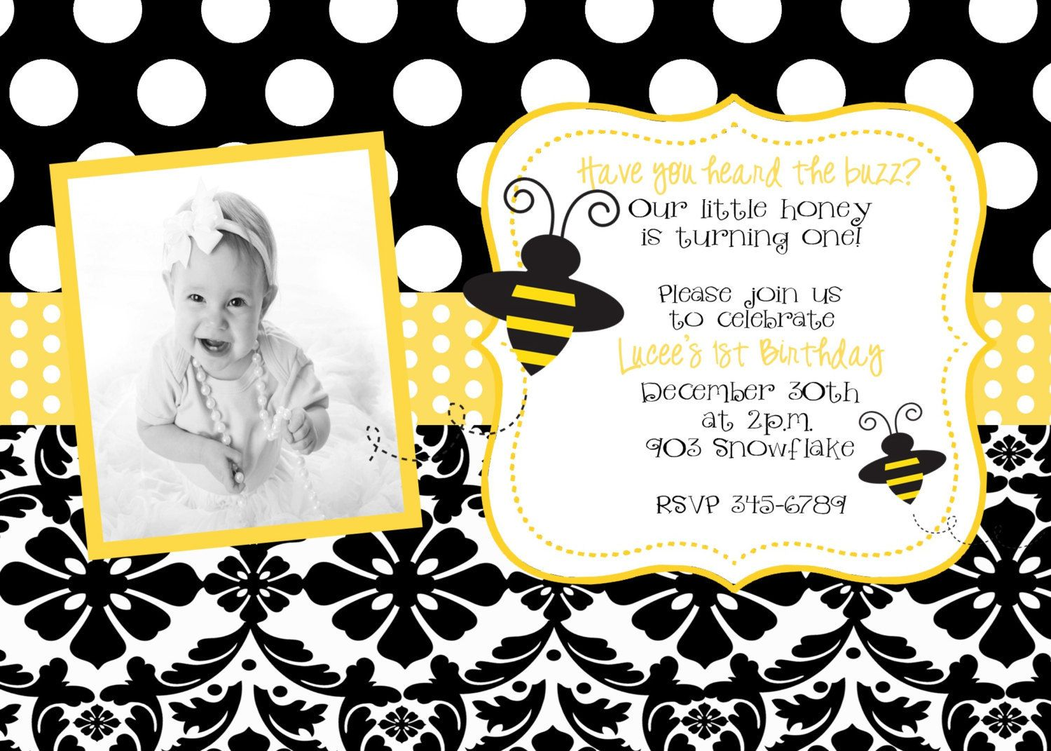 Bumble Bee Birthday Party Or Baby Shower Invitation