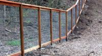 Framed wire fence on slope | Yard | Pinterest | Wire fence ...