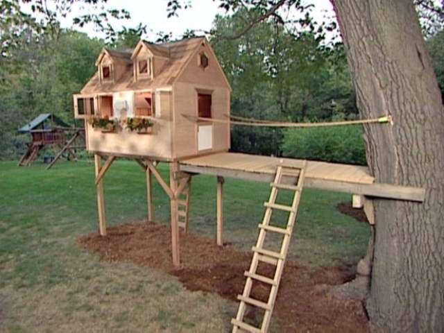 How To Build A Tree House Around A Backyard Fence? Google Search