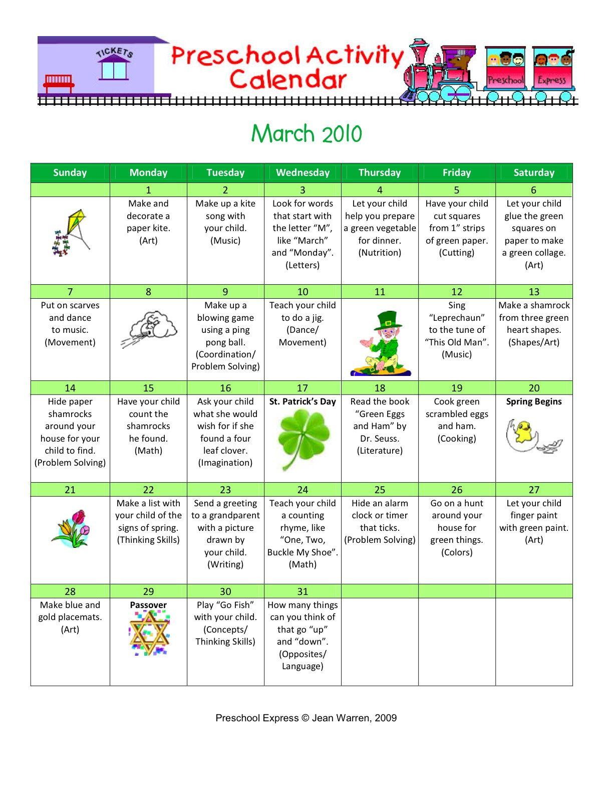 March 2 Preschool Activity Calendar Pre K 4 Mrs Borden S