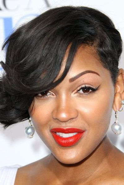 Meagan Good's One Sided Wavy Short Hairstyle Evening Formal