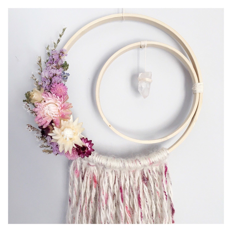 Crescent moon dreamcatcher // boho dreamcatcher // floral