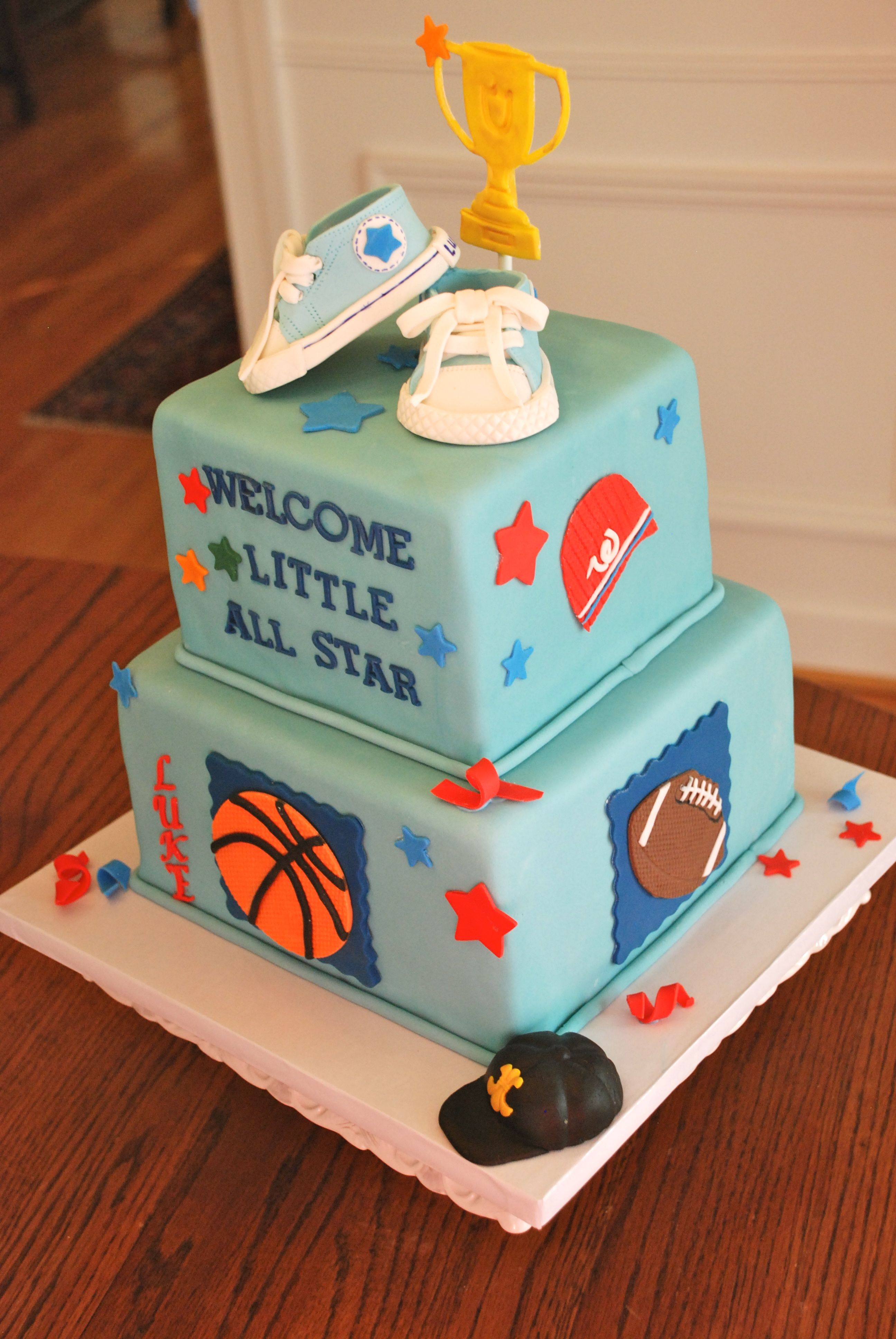 Little All Star Baby Shower Cake With Asst Sports Themes