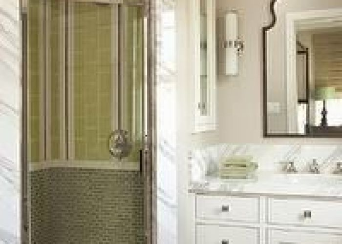 With greige walls paint color white single bathroom cabinet marble countertop brayden arch mirror and corner shower green glass tiles also tim barber bathrooms