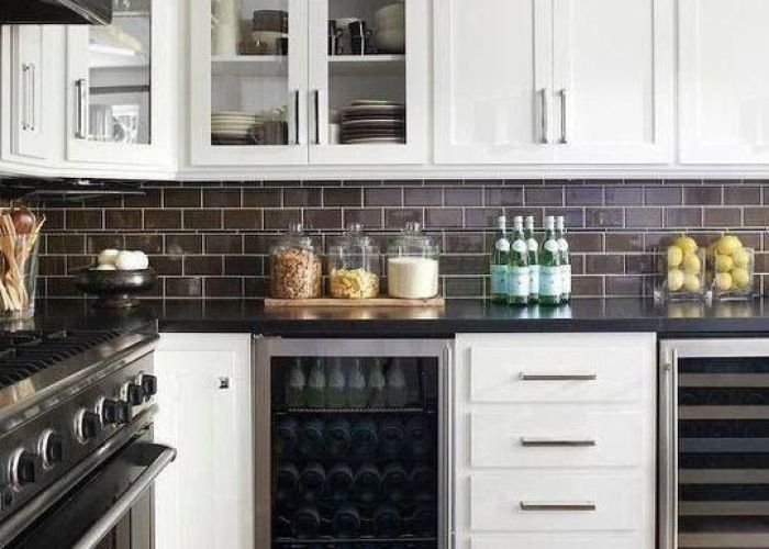 Budget friendly black granite white shaker style cabinet subway tile long skinny drawer also no more colorful backsplashes