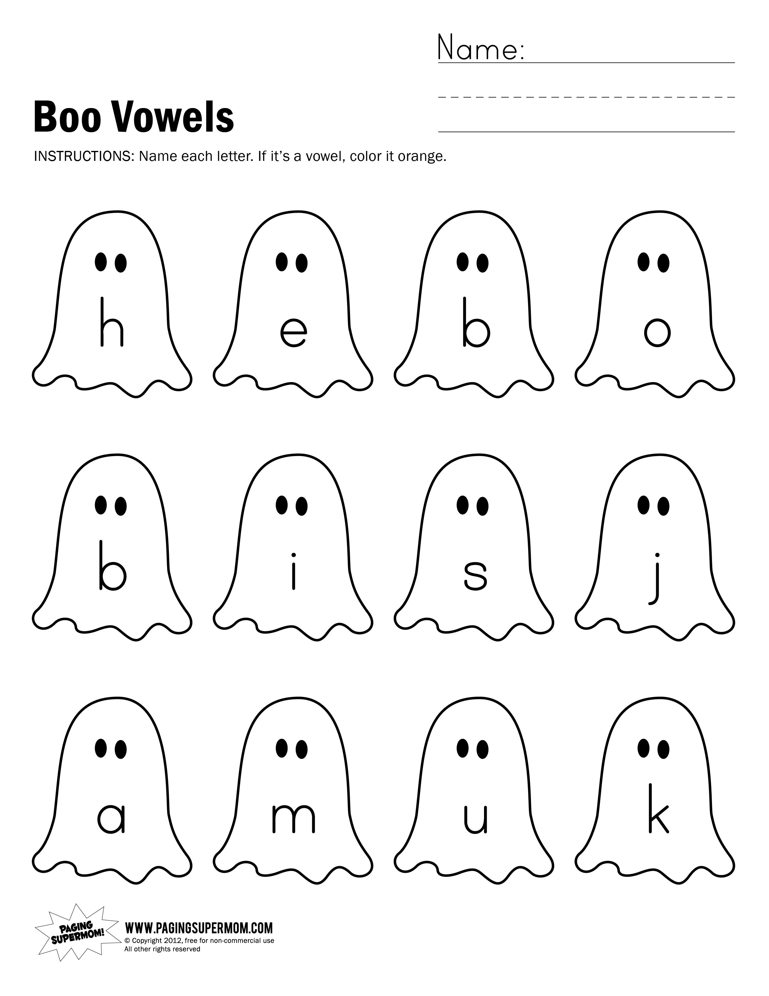 Boo Vowels Worksheet